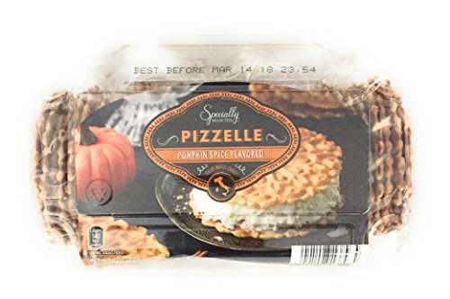 Pumpkin Spice Pizzelle Italian Waffle Cookies Specially Selected - 7 Oz Package Contains 4 Wrapped Packs of 9-11 Pizzelles