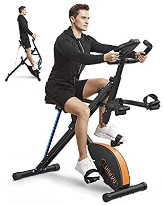 UREVO Stationary Exercise Bike Foldable Magnetic Upright Bike Indoor Cycling Folding Bike& Squat Assist Machine Row-N-Ride Trainer for Glutes Workout with Monitor Phone Holder Arm Resistance Bands