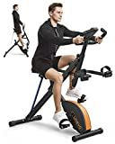 UREVO 3 in 1 Foldable Exercise Bike Magnetic Stationary Folding Indoor Cycling Exercise Bike Squat Machine Row and Ride Trainer Fitness Workout Machine 330 LBS Weight Capacity with LCD Monitor