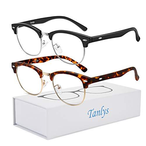 Tanlys 2 Pack Blue Light Blocking Glasses for Computer Eye Strain [Dry Eye & Sour Eye], Anti UV Reduce Headache Stylish Gaming Bluelight Blocker Glasses Men Women (Black Tortoise)