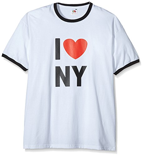 Coole-Fun-T-Shirts Herren I Love NY - Ringer T-Shirt Weiss, S