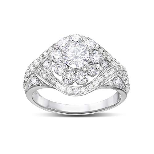 The Bradford Exchange Royal American Rose' Meghan Markle Diamonesk Ring – Inspired by Meghan's Royal Wedding Tiara! Handcrafted Solid Sterling Silver with Diamonesk Simulated Diamonds. Exclusive to