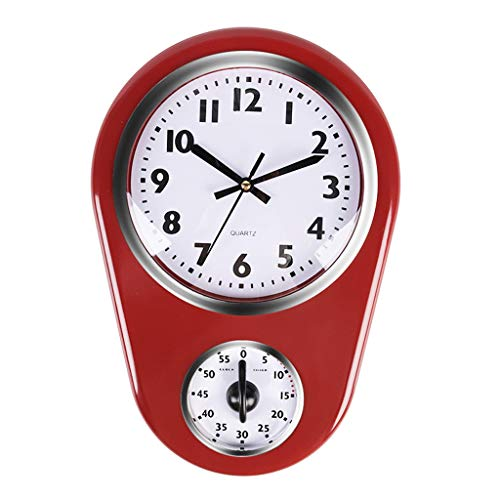 Wr Home Retro Vintage Old Stylish Kitchen Time Horloge Murale avec Minuterie De 60 Minutes, Facile À Lire