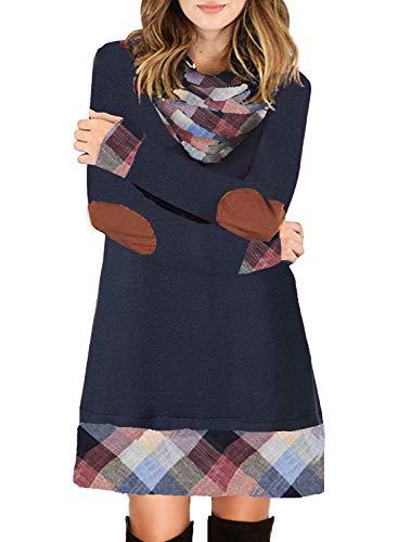 Ancapelion Damen Langarm Minikleid Kariertes Kleid Rollkragen Strickkleid A-Linie Sweater Herbstkleid Lose Kleider Pullover Kleid für Winter Herbst, Blau, M