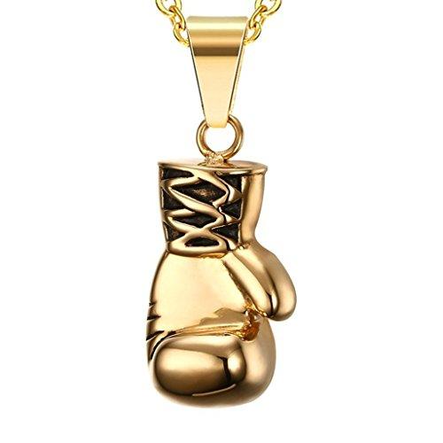 Daesar Joyería Acero Inoxidable Colgante Collar Puño Boxeo Guantes para Hombre y Mujer, Oro