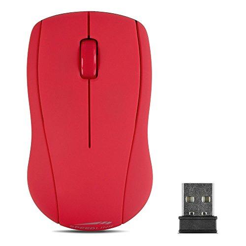 Speedlink kabellose 3-Tasten-Maus - SNAPPY Mouse wireless USB (präziser optischer Sensor mit 1.000dpi - bis zu 8m Reichweite - Gummierte Oberfläche für sicheren Halt) Laptop / Tablet / PC / Computer wireless Mouse rot