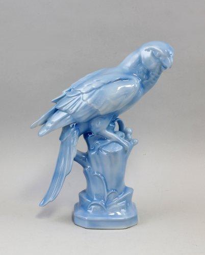 Gräfenthal Figure en porcelaine Ara personnalisé bleu