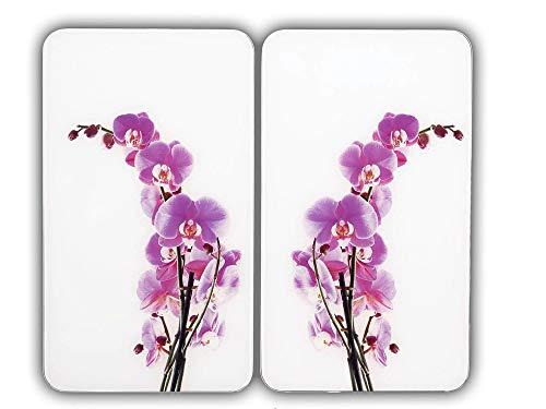 WENKO Glasabdeckplatte Universal Orchideenblüte, 2er Set Herdabdeckung Ceranfeld
