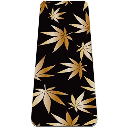 AIBILI Esterilla de yoga plegable de 6 mm de grosor antideslizante para viajes y yoga suave y ligera, ideal para yoga, pilates y fitness, diseño de hojas de marihuana, color dorado