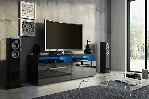 Wohnideebilder Sideboard Lowboard TV Fernsehschrank BONN 100 cm Kommode inkl LED Highboard NEU (Korpus matt schwarz/Front schwarz Hochglanz)