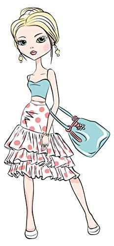 dekodino® Wandtattoo Fashion Frau im Sommerkleid mit Tasche Kinderzimmer Deko