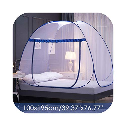 Big Incisors-CA Mosquito Net Hammocks, Portable Automatic Pop~ Up Mosquito Net Installation-Free Foldable Student Bunk Breathable Netting Tent Mosquito Net Home Decor-100cmx195cm