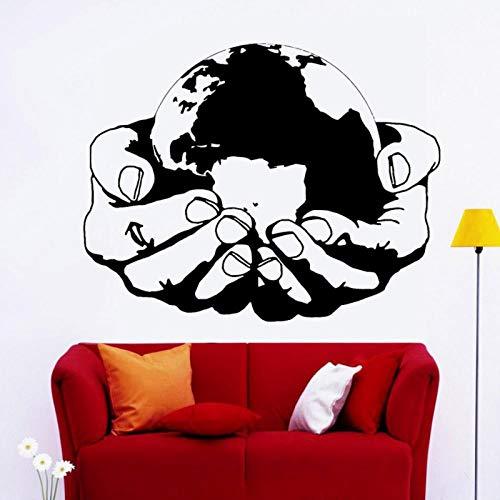 kldfig Vinyl wandtattoo wereld milieu gezondheid aarde natuur groen ecologie abstracte muursticker wooncultuur kantoor woonkamer-72x57cm