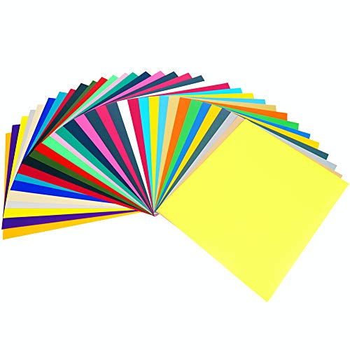 GIO-FLEX PU Heat Transfer Vinyl 10' x 12' - 33 Sheets HTV Assorted Colors Bundle/Variety Pack, Adhesive Vinyl, Iron-On Transfer, Heat Press, DIY Design for T-Shirts, Easy to Weed