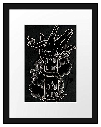 Picati Actions Speak Louder Black Bilderrahmen mit Galerie-Passepartout/Format: 38x30cm / garahmt/hochwertige Leinwandbild Alternative