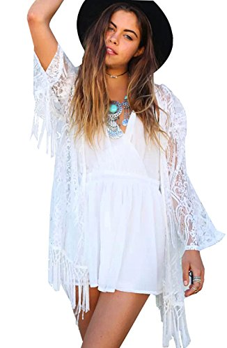 Mangotree  Damen Sehen Durch Spitze Kimono Cardigan Exotische Vintage Boho Hippie Häkeln Quasten Mini Kleid Bikini, L,  Weiß