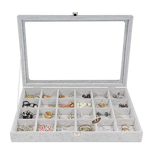 Schmuckkästchen, THETAG Damen Schmuckschatulle Ringbox mit 24 Gitter für Armband ,Halskette und Ohrringe grau (24 Gitter)