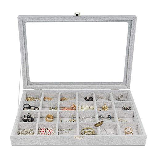 Schmuckkästchen, Damen Schmuckschatulle Ringbox für Armband,Halskette und Ohrringe grau (Grey)