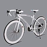 TXX 26 Pulgadas de Transmisión de 21 Velocidades Del Engranaje de la Bici,Estudiantes de Ambos Sexos en Bicicleta,Bicicleta de Carretera Dobles Frenos de Disco,60 en Blanco Y Negro Curva el