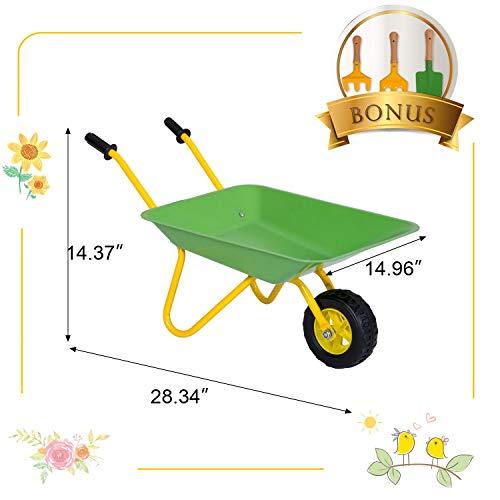 Kinbor Kids Wheelbarrow and Garden Tools, Tools in Garden for Toddlers, Kids