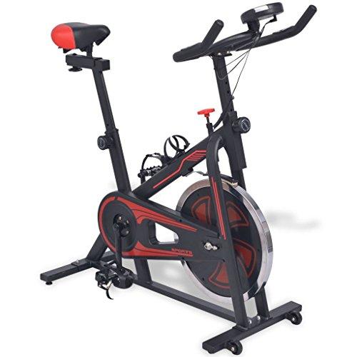 Festnight Cyclette da Spinning Ellittica con Sensori a Impulso Nera e Rossa