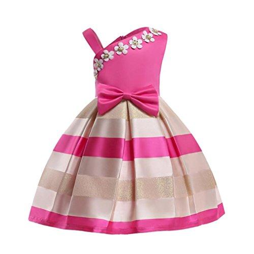 PAOLIAN Monos Ropa para bebé niñas Traje de Vestido Vestidos de Princesa Verano Impresion de Florales Pajarita Irregular Fiesta Boda Conjuntos para niñas de 9 Meses 3 años - 8 años (100, Fucsia-1)