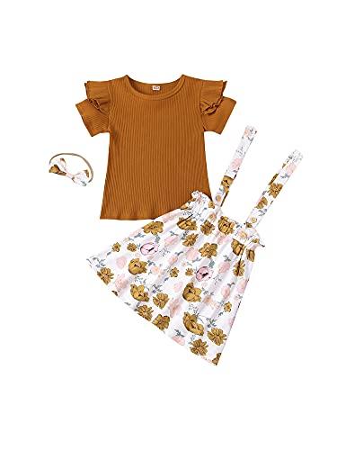 Qinngsha 3 piezas de chándal de verano para niños, color sólido, camiseta de manga corta, vestido floral + cuerda para el pelo para niñas