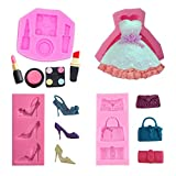 4Pcs/Set Small Cosmetics Makeup Tools Silicone Molds Dress High-heeled Shoes Bags Chocolate Clay Candy Wedding Fondant DIY Cake Decor Cupcake Topper