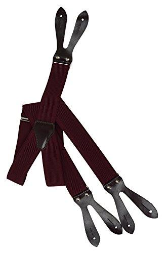 Olata Unisex Bretelle regolabili con Vera Pelle Marrone Scuro Asole, 3.5cm larghezza - Rosso Bordeaux