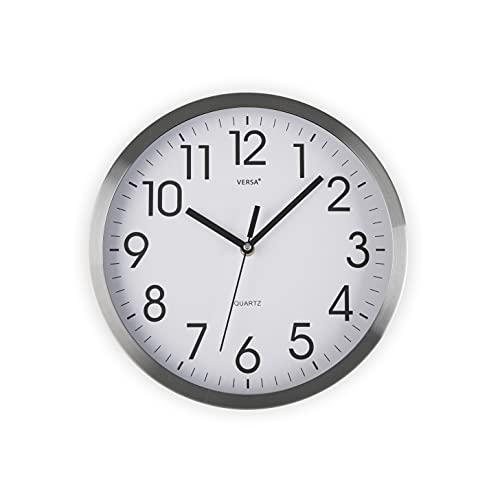 Versa Enkel Reloj de Pared Silencioso Decorativo para la Cocina, el Salón, el Comedor o la Habitación, Estilo Moderno, Medidas (Al x L x An) 25 x 4,1 x 25 cm, Aluminio, Color Blanco y Plateado