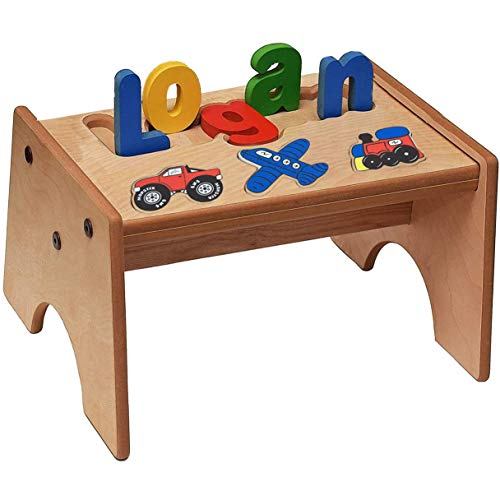 Personalized Puzzle Step Stool for Kids - Transportation Wooden Name Stool (1-8 Letters) | Handcrafted Natural Wood Furniture Bench with Primary Cutout Alphabets | Unique Gifts For Kids