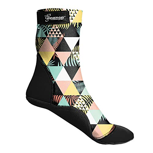 Seavenger SeaSnugs Beach Socks   Sand Skins for Outdoor Volleyball and Soccer   Kids, Mens, Womens (Geometric Palm, Medium)