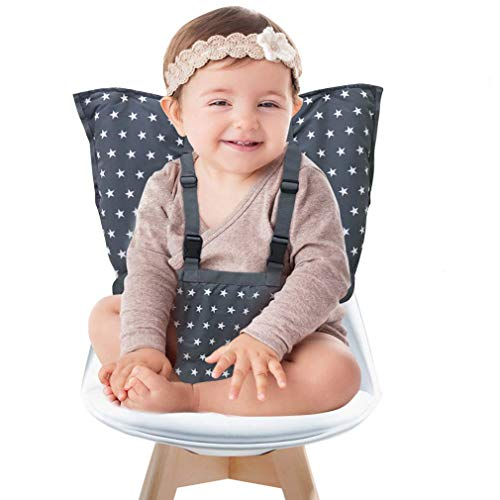 Portable Baby High Chair Safety Seat Harness for Toddler, Travel Easy High Booster Seat Cover for Infant Eating Feeding Camping with Adjustable Straps Shoulder Belt,Holds Up to 38lbs.