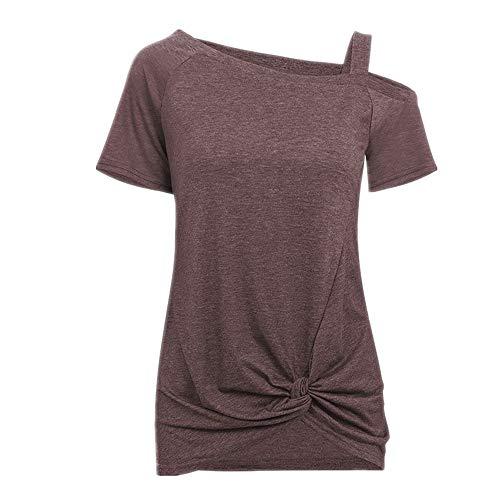 Damen Frühling Sommer Knoten T-Shirt Kurzarm Off Shoulder