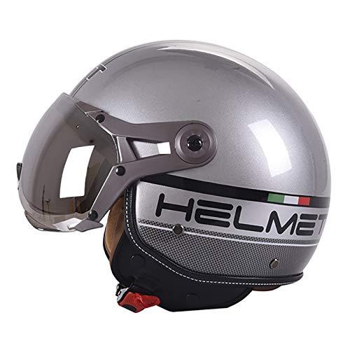 Vintage Jet-Helm · Motorrad-Helm Roller-Helm Scooter-Helm Moped Mofa-Helm Chopper Retro Vespa Vintage Pilot Biker Helmet · ECE 22.05 Zulassung mit Visier Offenem Gesicht Helm F,L=56~58cm