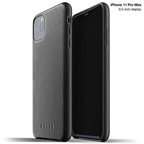 Funda de Piel Lisa para iPhone 11 Pro MAX Negra Mujjo
