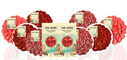 San Jamón - Cesta Regalo Gourmet Iberico, Pelayos. Prosciutto Iberico, Lomo, Chorizo e Salchichón Ibericos