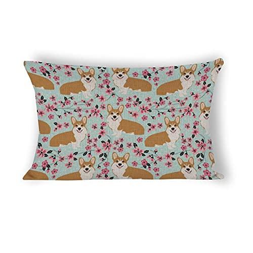 Funda de almohada de 50,8 x 76,2 cm, Corgi flor de cerezo flores perro decorativo algodón lino casa de campo Lumbar funda de almohada para sofá cama coche y decoración del hogar