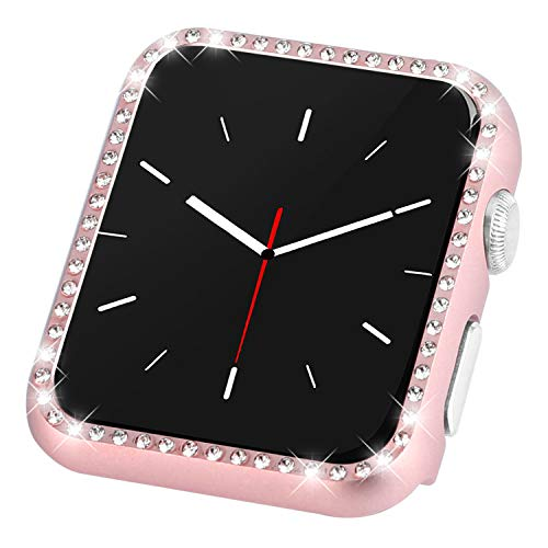 CooBES Compatible with Apple Watch Case 40 mm 44 mm Slim Metal Case Thin Shiny Diamonds Bling Screen Protector Cover Women for iWatch Series 4