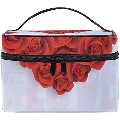Sac Cosmétique Roses Rouges Amour Coeur Multifonction Maquillage Voyage Trousse De Toilette Organisateur Cas Avec Fermeture Éclair
