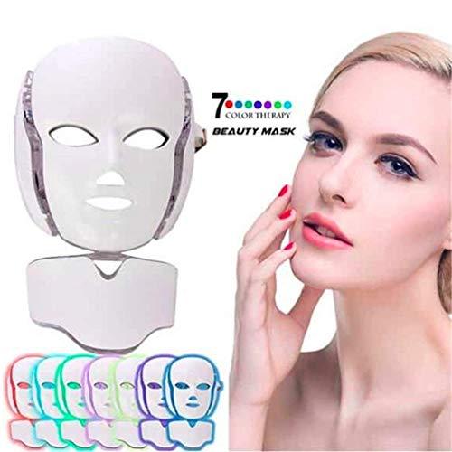 FAY Beauty Schönheitsmaske, 7Color LED Photon Gesichtsmaske EMS Mikrostromtherapie Hautverjüngung Faltenbehandlung Gesicht Hals