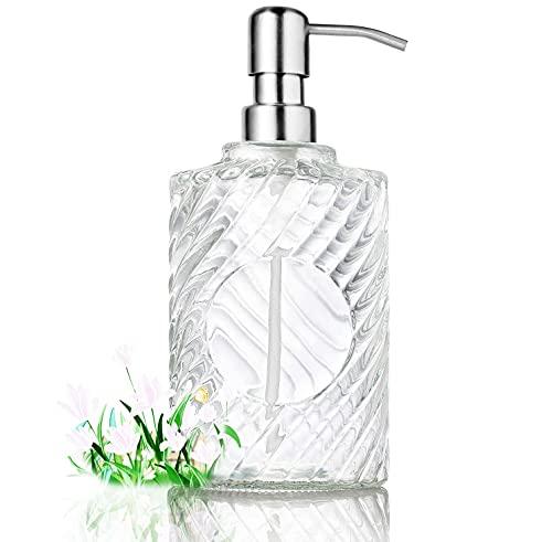 TPFOON Dispensador de jabón de vidrio transparente, Capacidad: 400 ML, 12.5 x 9 x7 cm, Recargable...