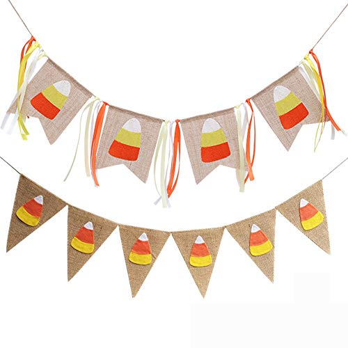 Candy Corn Banner Burlap Pennant Flag for Happy Harvest Fall Party Thanksgiving Halloween Party Favor Banner Decoration 2Pcs
