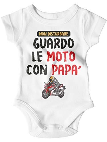 STAMPATEK Body Neonato Festa del papà Bodino Guardo Le Moto con papà Tutina Bimbo Manica Corta Idea Regalo Nascita