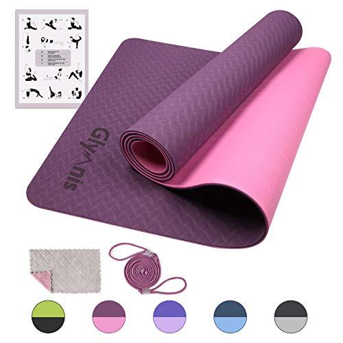 tappetino fitness rotondo Glymnis Tappetino Yoga in TPE Tappetino da Yoga Antiscivolo a Doppia Faccia e Impermeabile Dimensione di 183 × 61 × 0.6 cm con Cinturino