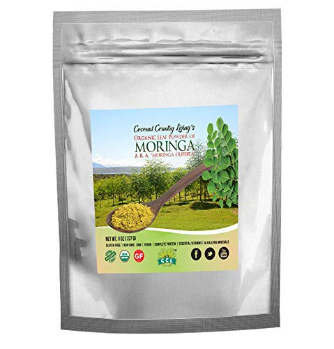 Organic Moringa Leaf Powder Raw Premium Grade 8 oz Nutrient Dense Health Boost for Body