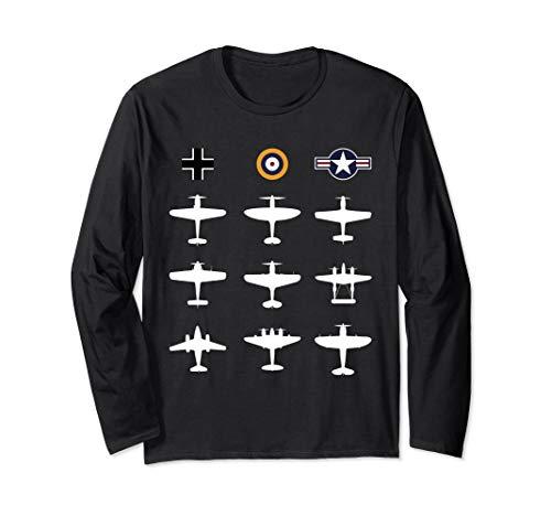 Berühmte WW2 Warbirds P51 Mustang, Spitfire, ME 109 Geschenk Langarmshirt