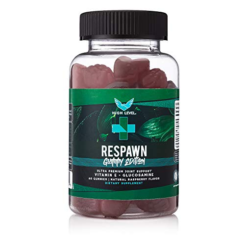 High Level Respawn Gummy - All Natural Anti-Inflammatory with Glucosamine and Vitamin E   Natural Raspberry Flavor   Joint and Swelling Relief Supplement   60 Gummies