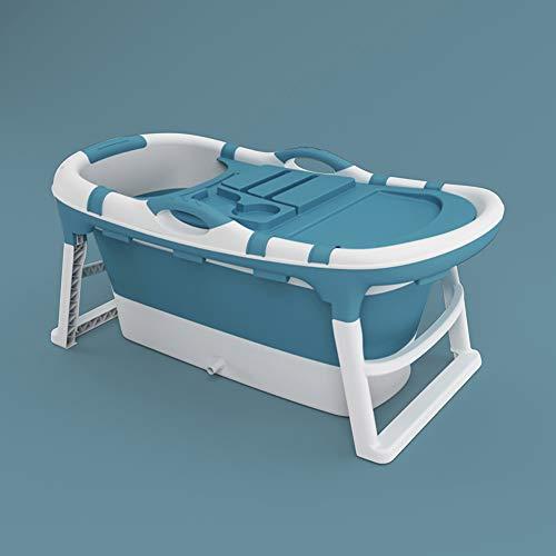 NEWB Faltbare Badewanne, Erwachsene Badewanne, Umweltfreundliche PP Badewanne, Haushalt Verdickten Wanne, Wärmedämmung, Tragbare Wanne (Mit Deckel),Blau