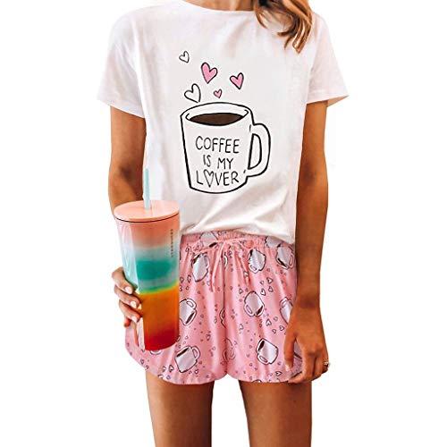 Battnot Damen Pyjama Sommer Set Elegant Tie-dye T-Shirts+Shorts 2-teiliges Kurzarm Freizeit Trainingsanzug Hausanzug, Frauen Sportanzug Jogginganzug Wellnessanzug Womens Casual Outfit Loungewear